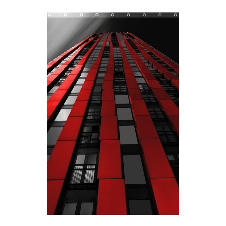 Red Building City Shower Curtain 48  x 72  (Small)