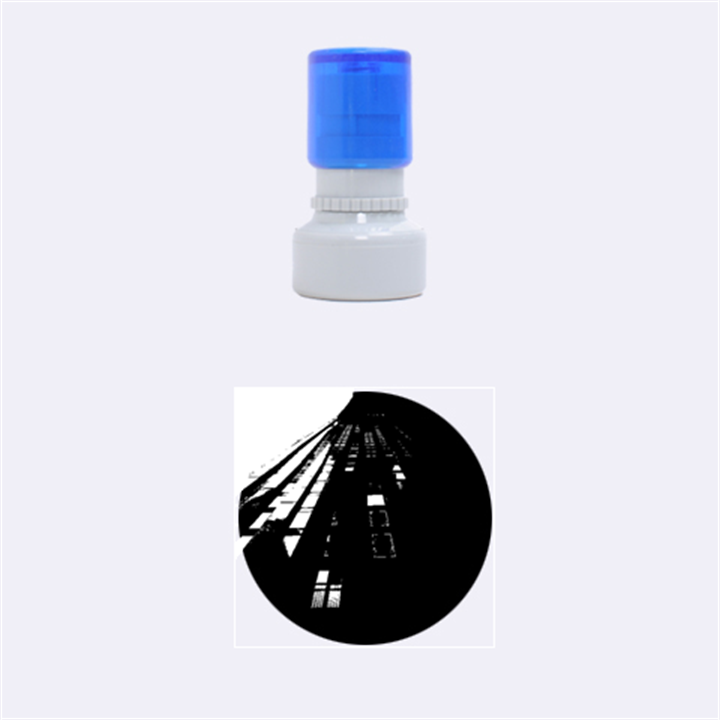 Red Building City Rubber Round Stamps (Small)