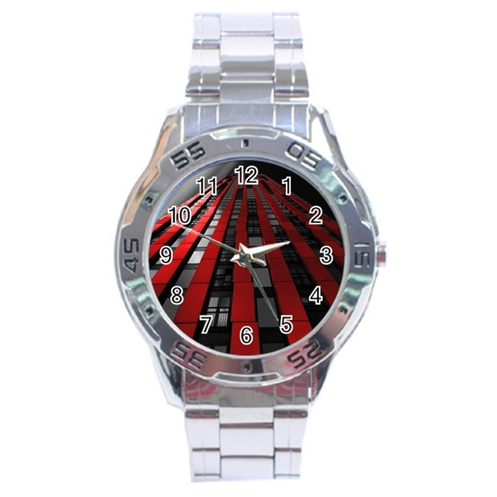 Red Building City Stainless Steel Analogue Watch
