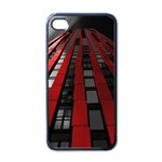 Red Building City Apple iPhone 4 Case (Black) Front