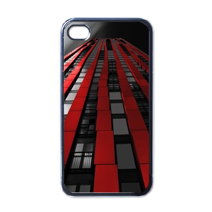 Red Building City Apple iPhone 4 Case (Black)