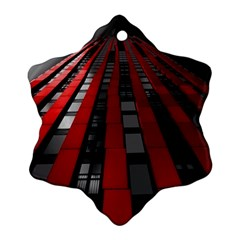 Red Building City Snowflake Ornament (2-Side)