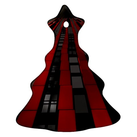 Red Building City Christmas Tree Ornament (2 Sides)