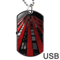 Red Building City Dog Tag USB Flash (Two Sides)