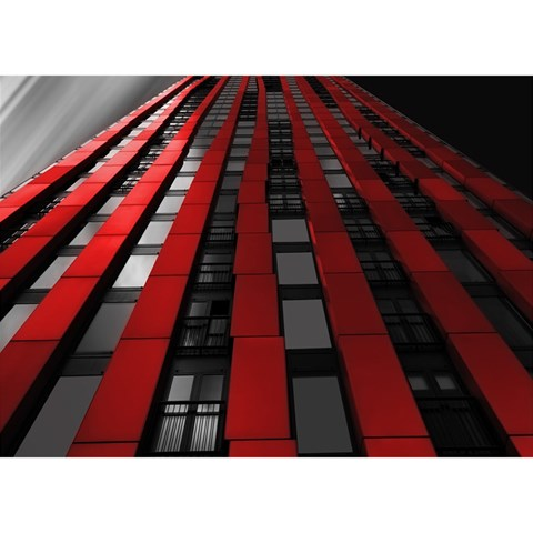 Red Building City Birthday Cake 3D Greeting Card (7x5)