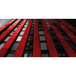 Red Building City Happy New Year 3D Greeting Card (8x4) Front