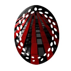 Red Building City Ornament (Oval Filigree)