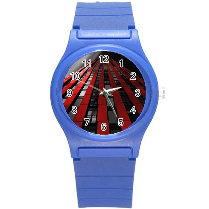 Red Building City Round Plastic Sport Watch (S)