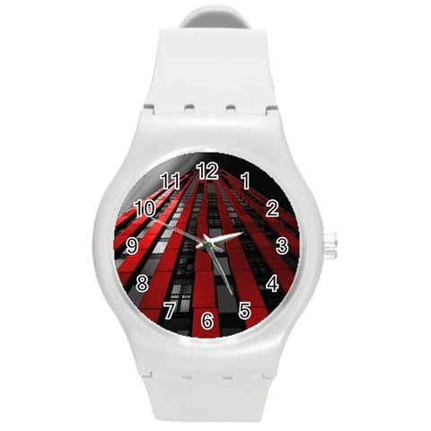 Red Building City Round Plastic Sport Watch (M)