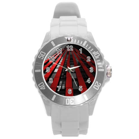 Red Building City Round Plastic Sport Watch (L)