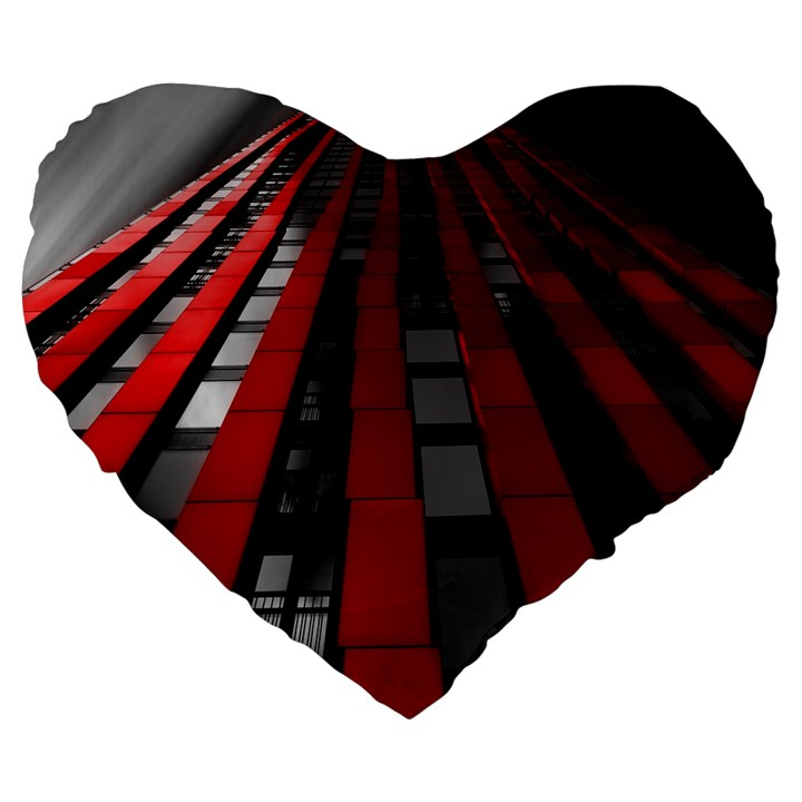 Red Building City Large 19  Premium Heart Shape Cushions