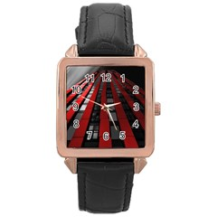 Red Building City Rose Gold Leather Watch