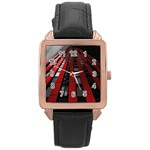 Red Building City Rose Gold Leather Watch  Front