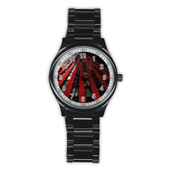 Red Building City Stainless Steel Round Watch