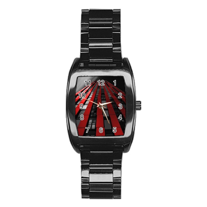 Red Building City Stainless Steel Barrel Watch