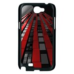 Red Building City Samsung Galaxy Note 2 Case (Black) Front