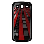 Red Building City Samsung Galaxy S3 Back Case (Black) Front