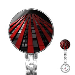Red Building City Stainless Steel Nurses Watch