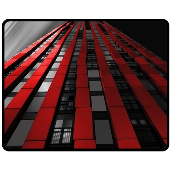 Red Building City Double Sided Fleece Blanket (Medium)