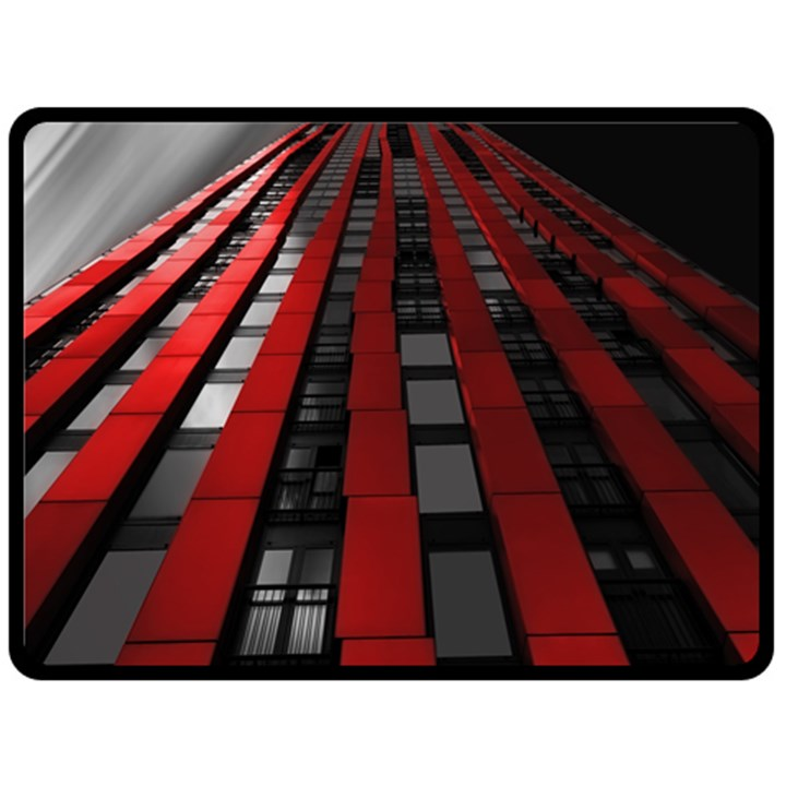 Red Building City Double Sided Fleece Blanket (Large)