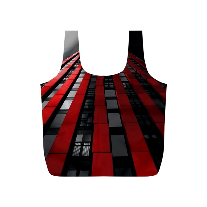 Red Building City Full Print Recycle Bags (S)