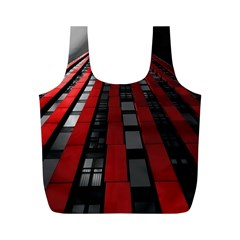 Red Building City Full Print Recycle Bags (M)