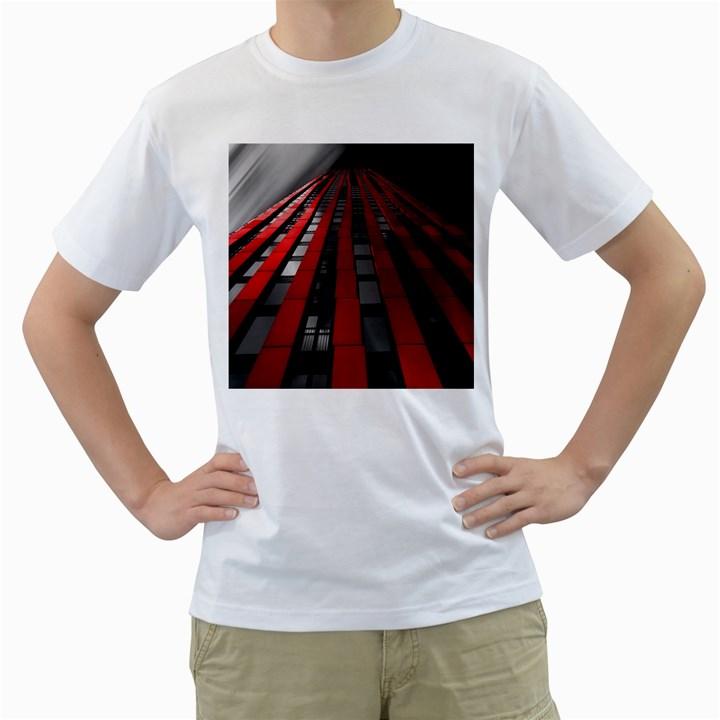 Red Building City Men s T-Shirt (White)