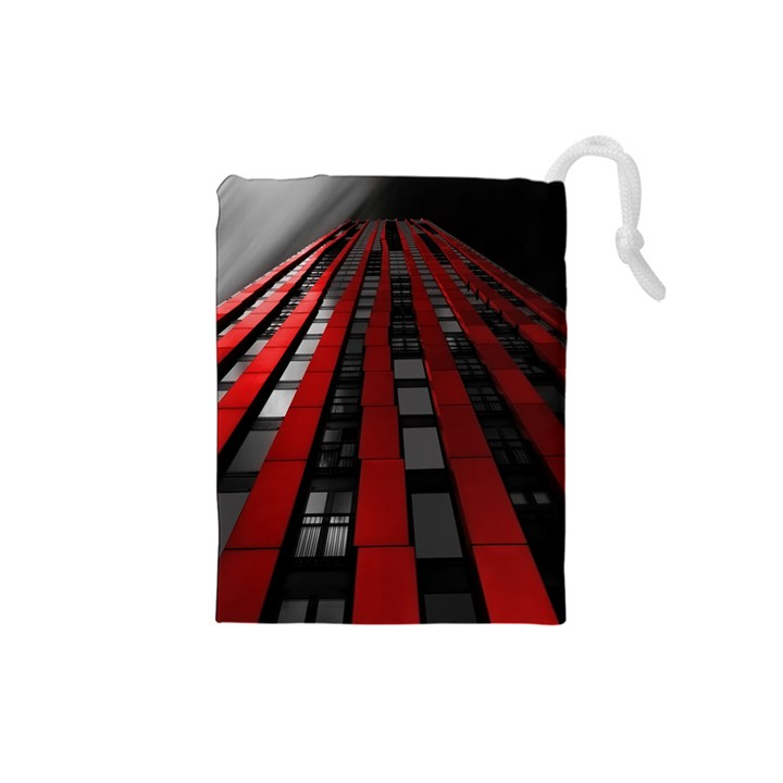 Red Building City Drawstring Pouches (Small)