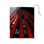 Red Building City Drawstring Pouches (Large)  Front