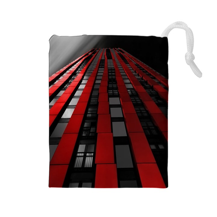 Red Building City Drawstring Pouches (Large)