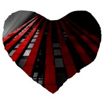 Red Building City Large 19  Premium Flano Heart Shape Cushions Front