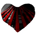 Red Building City Large 19  Premium Flano Heart Shape Cushions Back