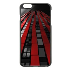 Red Building City Apple iPhone 6 Plus/6S Plus Black Enamel Case
