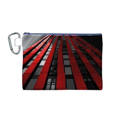 Red Building City Canvas Cosmetic Bag (M)
