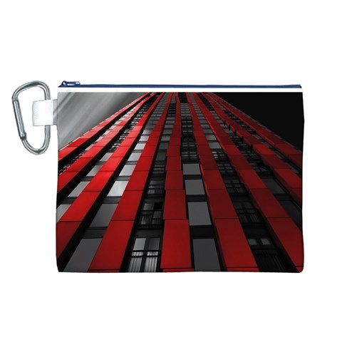 Red Building City Canvas Cosmetic Bag (L)