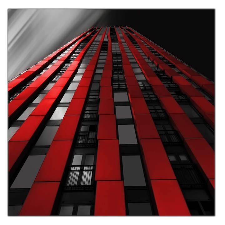 Red Building City Large Satin Scarf (Square)