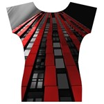 Red Building City Women s V-Neck Cap Sleeve Top Back