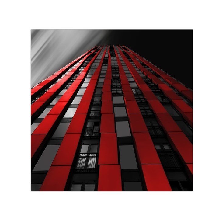 Red Building City Small Satin Scarf (Square)