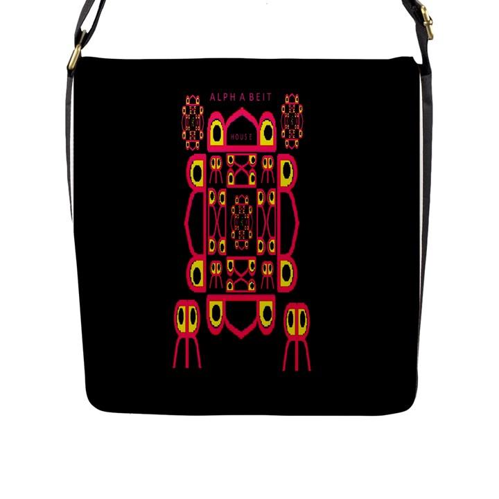 Alphabet Shirt Flap Messenger Bag (L)