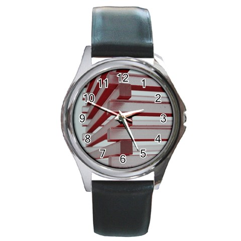 Red Sunglasses Art Abstract  Round Metal Watch