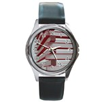 Red Sunglasses Art Abstract  Round Metal Watch Front