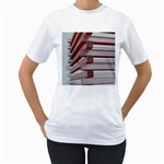 Red Sunglasses Art Abstract  Women s T-Shirt (White) (Two Sided) Front