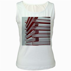 Red Sunglasses Art Abstract  Women s White Tank Top