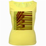 Red Sunglasses Art Abstract  Women s Yellow Tank Top Front