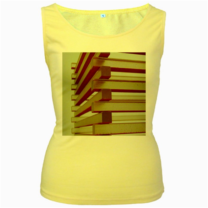 Red Sunglasses Art Abstract  Women s Yellow Tank Top