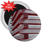 Red Sunglasses Art Abstract  3  Magnets (10 pack)  Front
