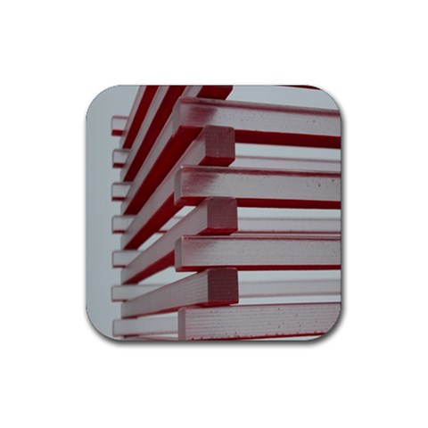 Red Sunglasses Art Abstract  Rubber Square Coaster (4 pack)
