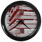 Red Sunglasses Art Abstract  Wall Clocks (Black) Front