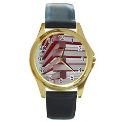 Red Sunglasses Art Abstract  Round Gold Metal Watch