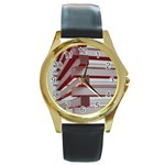 Red Sunglasses Art Abstract  Round Gold Metal Watch Front